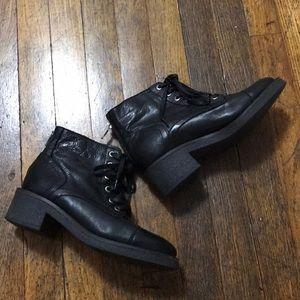 Aldo black ankle combat heel boots leather